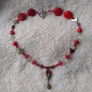 Beaded Boho Charm Necklace Red & Silver